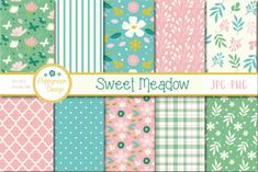 Sweet Meadow Papers (Graphic) by poppymoondesign · Creative Fabrica