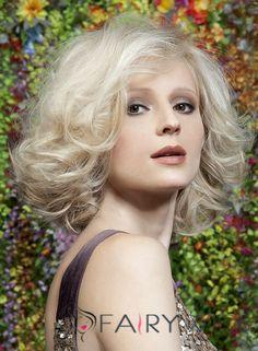 100% Human Hair Blonde Short Wigs 12 Inch Capless Wavy