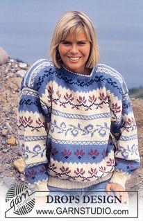 DROPS genser i Karisma med nordisk Kløver-Blad i bord. ~ DROPS Design
