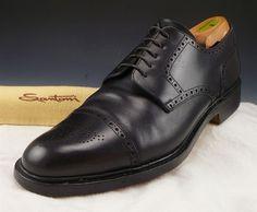 SANTONI sz 11.5 LEATHER CAP TOE OXFORDS 111290 MENS BLACK fits US 11.5 $ #Santoni #Oxfords #distinctivedeals