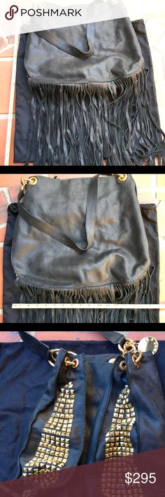 """Stella & Jamie Black LEATHER Gold STUD FRINGED Bag Stella & Jamie Shoulder Bag Purse Black LEATHER Gold STUD FRINGE (approx 13"""" long) EXCELLENT CONDITION  strap length approx 12"""" rise bag length approx 14"""" tall fringe approx 13"""" long bag width approx 16""""wide  See images for exact product condition Smoke free home Packed & shipped w/ care Stella & Jamie Bags Hobos"""