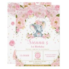 Shop Pink Floral Roses Elephant Baby Shower Invitation created by BlueBunnyStudio. Personalize it with photos & text or purchase as is! Baby Girl Elephant, Elephant Birthday, Elephant Baby Showers, Pink Elephant, Elephant Theme, Elephant Gifts, Baby Shower Invites For Girl, Girl Shower, Garden Baby Showers
