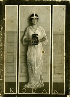 Kodak Girl c.1900. How ironic to see a woman as the image of Kodak when the field historically was dominated by men! It was very hard for me to break into the field in the 1980's as I represented only 11 percent of female photographers in the country. I had older males ask me things like would my period stop me from showing up to work and what was the matter with me...didn't I want children?