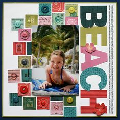 New from BasicGrey - South Pacific Collection - Scrapbook.com - Cut large letters from various patterned papers for a perfectly coordinating and super eye catching title!