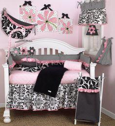 Girly 8pc Crib Bedding Set by CottonTaleDesigns on Etsy