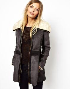 Vero Moda | Contrast Coat with Oversized Fur Collar, Leather Panels | $160
