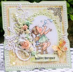 A Sprinkling of Glitter: I'm Forever Blowing Bubbles - Addicted To Stamps DT Card