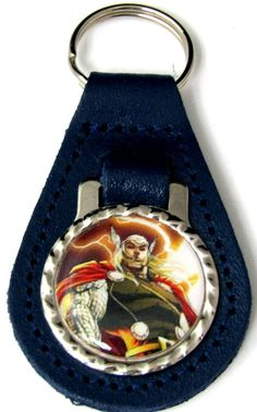 Thor Lightning Blue Genuine Leather Key Fob With Steel Ring FOB-0023