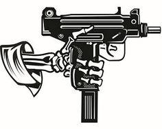 Military Skull #13 Skeleton Uzi Machine Gun Ammunition Ammo Weapon Soldier War Battle Logo .SVG .EPS .PNG  Clipart Vector Cricut Cut Cutting