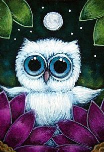 Detail Image for art TINY BABY BLUE OWL IN MY GARDEN