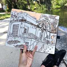 Loose environment sketch of the painting studio on the Bayou in the 91 degree weather
