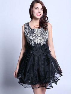 A Line Round Neck Sleeveless Embroidery Vest Dress