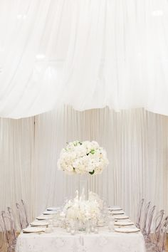 This Vancouver wedding goes down in our list of favorite all-white weddings. See the beautiful details captured by Simply Sweet Photography. All White Wedding, Mod Wedding, Wedding Reception, Dream Wedding, Outdoor Wedding Decorations, Reception Decorations, Reception Ideas, Wedding Colors, Wedding Flowers