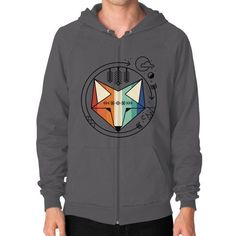 Colored geometric native fox art Zip Hoodie (on man)