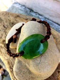 British Columbia Jade and Leather Braided Bracelet by SmithNJewels on Etsy