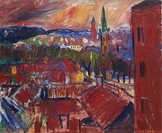 "IVAN IVARSON, ""Utsikt från Rialto, Göteborg"". Signed Ivarson. Executed in 1933. Canvas 67 x 80 cm.. - Modern Autumn Sale, stockholm 557 – Bukowskis"