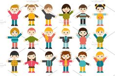 Children stylized figures. Graphics Big set of different cartoon children figures. Boys and girls on a white background. Minimalistic fl by VectorAN
