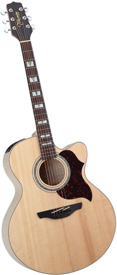The Takamine EG523SC... my current guitar. Got it for a song on Kajiji. Sounds amazing, large body, dual pickups under the bridge, chrome tuners, spruce top, flamed maple back and sides, Abalone inlays, rosewood bridge and a wicked preamp with an on-board tuner and an EQ bypass.