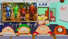 """This is a photo of a scene in """"South Park"""". In the photo the characters are being watched playing a computer game called World of Warcraft. This photo relates to our reading """"GimpGirl Grows Up"""" because it is an example of how people can explore their identity how every they want in video games"""