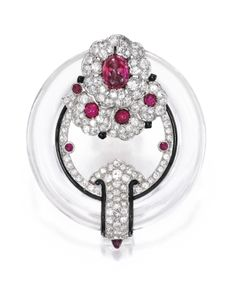 Platinum, Rock Crystal, Ruby, Diamond and Enamel Brooch | Lot | Sotheby's