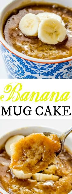 This Banana Mug Cake is the perfect single serving dessert to perk you up when your sweet tooth is calling!(Baking Treats Mug Cakes) Mug Cake Receta, Cookies Receta, Cake Cookies, Cookies Vegan, Single Serve Desserts, Desserts To Make, Delicious Desserts, Easy Banana Desserts, Cup Desserts