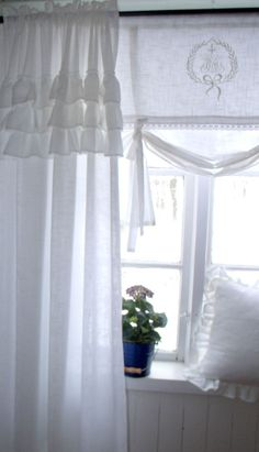 SOFIA OFF WHITE Vorhang Gardine 145x250cm VOLANT Spitze FRANSKE Landhaus Shabby