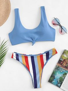 8e189f3c39 Shop Twist Tank Top With Striped Bikini Set online. SHEIN offers Twist Tank  Top With Striped Bikini Set & more to fit your fashionable needs.