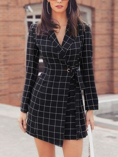 Grid Print Long Sleeve Irregular Belted Blazer Dress - Outfits for girlz:) - Modest Dresses, Tight Dresses, Casual Dresses, Fashion Dresses, Dresses For Work, Elegant Dresses, Sexy Dresses, Summer Dresses, Long Dresses
