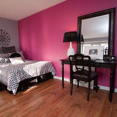 Pink And Black Bedroom Design, Pictures, Remodel, Decor and Ideas