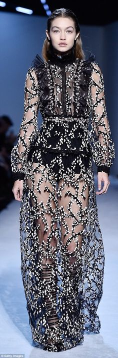 See-through: She first sampled a sheer floral frock