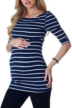 Navy Blue White Striped Fitted Maternity Top