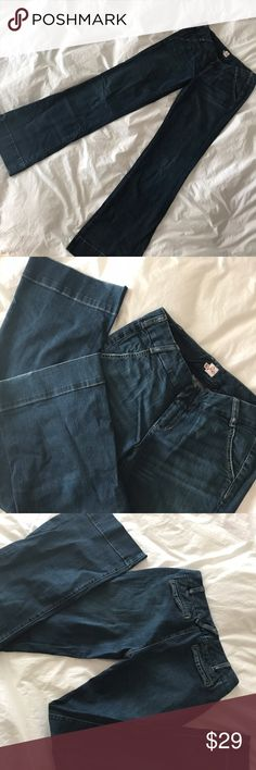 """Joie wide leg bell bottom blue denim jeans Chic and stylish dark stretch denim by Joie. Some wear throughout, tiny fraying in the bottom hens. Size 28 (US 6-8) and 34.5"""" inseam. Joie Jeans Flare & Wide Leg"""