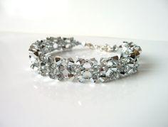 Silver Beaded Jewelry Bracelet, Swarovski Crystal Woven Jewelry Bracelet, Costume Jewelry, New Years Eve, Christmas, Prom Jewelry - by MelJoyCreations