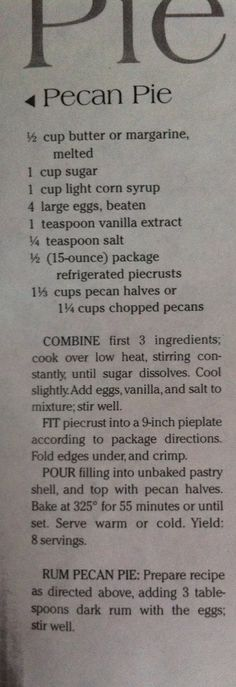 I've never cooked a pecan pie filling, I wonder how it changes the final product Pecan Recipes, Old Recipes, Vintage Recipes, Baking Recipes, Pie Dessert, Dessert Recipes, Thanksgiving Recipes, Holiday Recipes, Recipes
