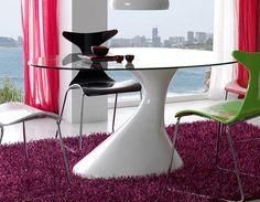 Table de salle à manger design ovale OCTAVE, plateau de verre