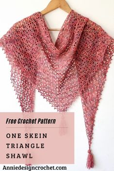 One Skein Crochet Triangle Shawl Crochet Prayer Shawls, Crochet Shawl Free, Crochet Wrap Pattern, Crochet Shawls And Wraps, Easy Crochet Patterns, Crochet Scarves, Crochet Clothes, One Skein Crochet, Basic Crochet Stitches