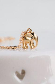 Tiny Gold Elephant Necklace Good Luck Charm 14K Gold Baby Elephant