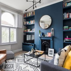 Like the dark blue and traditional structure to make it feel warm but modern pieces to contrast and make it fresh/clean/not stuffy or over busy
