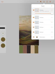 Värikartan tekeminen tunnelmakuvasta. Avaa valokuvatasolle tunnelmakuva. Tee ensimmäiselle piirtotasolle haluamasi muoto värikartan värien esittelyyn (kuten suorakaide) ja lisää ensimmäinen väri kuvasta. Muodon saat väritettyä painamalla muotoa. Monista taso. Siirrä suorakaide/muoto edellisen viereen. Jatka vaihtamalla väri ja monistamalla taso.