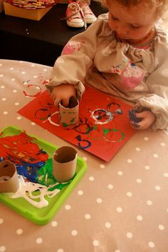 toilet paper tube painting for toddlers