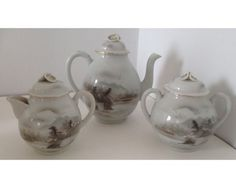 Antique Japanese Kutani Porcelain Tea Set Tea Pot Teapot Creamer & Sugar Bowl