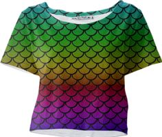 Mermaid Rainbow Sleeved Crop Top - Available Here: http://printallover.me/products/0000000p-mermaid-rainbow-7