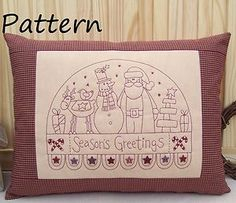 PATTERN - Prim Linz Christmas Redwork Stitchery Cushion Pattern | eBay