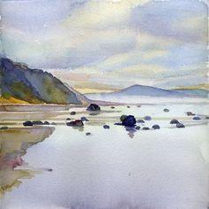 Watercolor Paintings For Beginners, Watercolor Landscape Paintings, Landscape Art, Paintings Of Landscapes, Abstract Paintings, Oil Paintings, Painting Art, Watercolor Landscape Tutorial, Beach Paintings