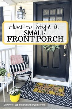 Small Front Porch Decor Ideas is part of diy-home-decor - Transform your entryway with a spring porch refresh! Inexpensive and simple decor ideas including furniture, planters and rugs, for small front porch spaces! Farmhouse Side Table, Farmhouse Decor, Modern Farmhouse, Porche Frontal, Small Porch Decorating, Patio Decorating Ideas On A Budget, Foyer Decorating, Small Front Porches, Country Front Porches