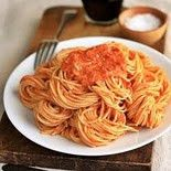 Spaghetti with Vodka Cream Sauce -- made with Smart Taste angel hair pasta and light cream instead of heavy and it was great!  Makes about 4 1-cup servings... double next time to have leftovers!