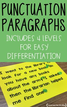 Punctuation Paragraphs - School and the City Writing Strategies, Writing Lessons, Writing Resources, Teaching Writing, Writing Activities, Writing Skills, Teaching English, Writing Centers, Teaching Grammar