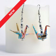 Blue Earrings,Paper Earrings Online,Origami Paper Jewellery,Origami Gift for…