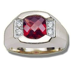 .15 ct 8mm Synthetic Ruby Mens Ring