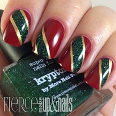 The Digit-al Dozen does Red, Gold and Green: Ribbon Mani